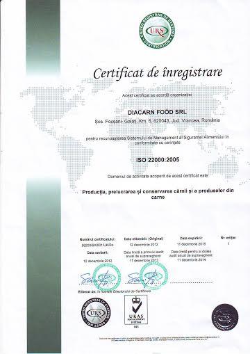 Management Integrat - al Siguranţei Alimentului în conformitate cu standardul SR EN ISO 22000:2005
